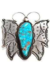 Freddie Maloney, Silver and Kingman Turquoise Butterfly Pin