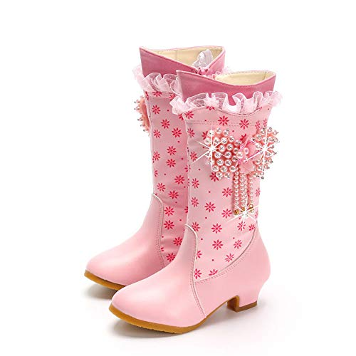 excellent.c Girls Martin Boots Long Tube Princess Shoes high Boots Low Heel Boots(Pink EU 31/13 M US Little Kid)