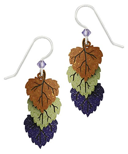 Adajio by Sienna Sky Handmade Triple Poplar Leaves Earrings in Old Gold, Sage and Grape - 1635