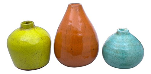 "Sullivans Small Ceramic Vase Set, Various Sizes, Set of 3 (CM2219) - Stylish ceramic vase set makes a great wedding, housewarming or birthday gift Product dimensions: 3.5""L x 3.5""W x 3""H, 3.25""L x 3.25""W x 4""H, and 3.75""L x 3.75""W x 5""H Perfect accent to any home or office - vases, kitchen-dining-room-decor, kitchen-dining-room - 41VbhAqp1NL -"