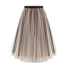 Women's Tutu Ballet Sheer Ruffle Mesh Tulle Overlay Skirt