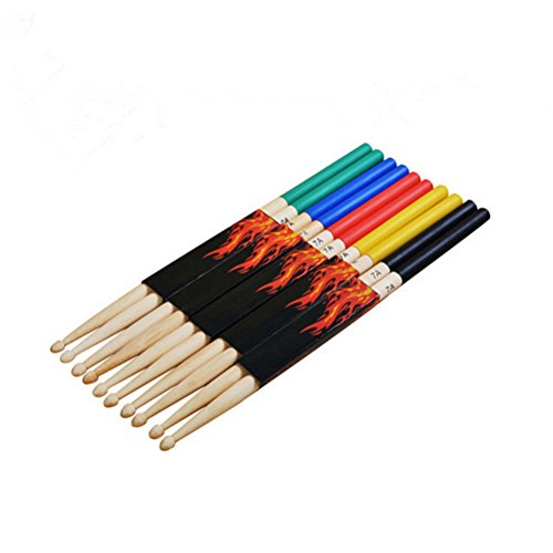 ROSENICE 7A Maple Drum Sticks Drum Accessories Multi Color for Kids Children 5 Pairs -