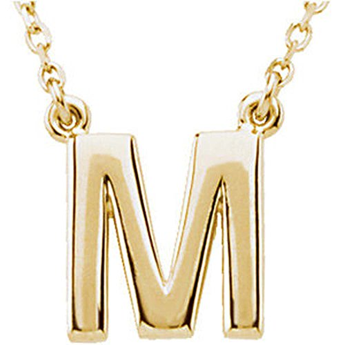Block Initial Necklace (Letter 'M' on 16-Inch Chain) in 14K Yellow Gold