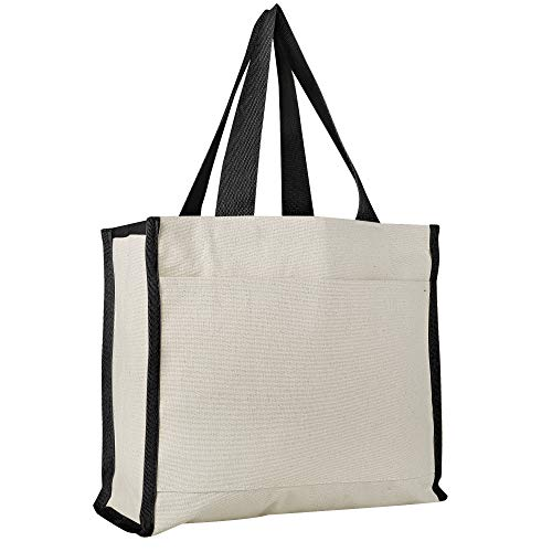 12 PACK - Heavy Canvas Tote Bags in BULK with Side Pocket Full Side and Bottom Gussets - TF211 (Black) ()
