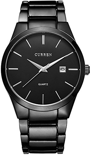 Mens Watches Big Dial Auto Date Black Stainless Steel Strap Watch Calendar Watches Quartz Watch