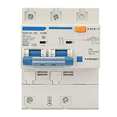 Circuit Breaker, AC 230V 80/100/125A Leakage Protection Switch DZ47LE-125 2P Current Circuit Breaker(C100A)