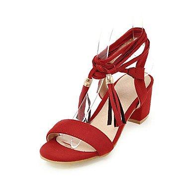 LvYuan Mujer Sandalias Pump Básico PU Verano Boda Vestido Pump Básico Con Cordón Borla Tacón Robusto Negro Marrón Rojo 5 - 7 cms ruby
