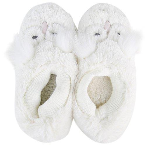 Home Slipper Dames Fuzzy Animal Fashion Ballerina Plat Indoor Huis Antislip Pantoffelsuil Wit