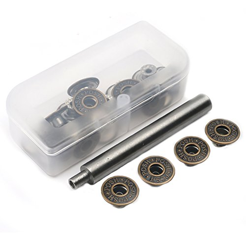 20 Pieces Jeans Button Tack Buttons Snap Fastener Press Studs Metal Replacement Kit with Storage Box, Diameter 17MM(0.67 Inch) (Style 3) (Button Replacement Kit)