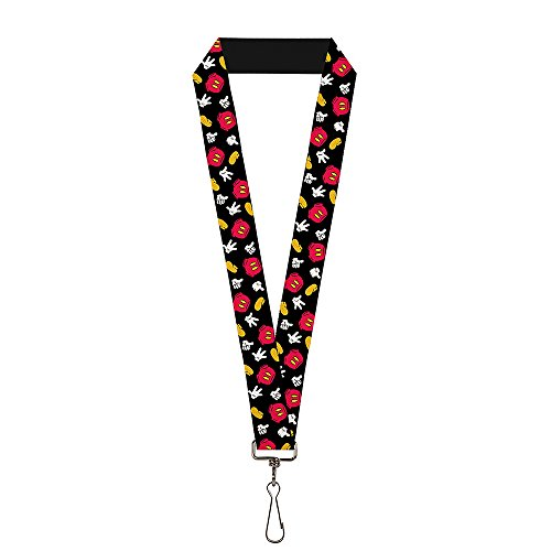 Buckle-Down Lanyard - Mickey Mouse Costume Elements Scattered Black (Mickey Mouse Pin Set)