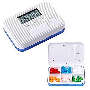 KOBWA - Caja de almacenamiento para pastillas de medicina, digital, ligera, con 5 alarmas de temporizador, pastillero de viaje 14