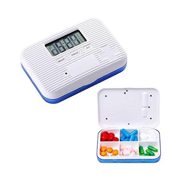 KOBWA - Caja de almacenamiento para pastillas de medicina, digital, ligera, con 5 alarmas de temporizador, pastillero de viaje 2