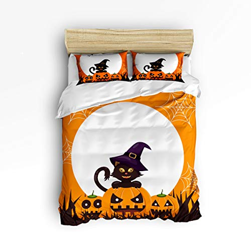 YEHO Art Gallery , Orange Halloween Pumpkin The Wizard Design Cute 3 Piece Duvet Cover Sets for Boys Girls, Cute Decorative Bedding Set Include 1 Comforter Cover with 2 Pillow Cases Twin Size