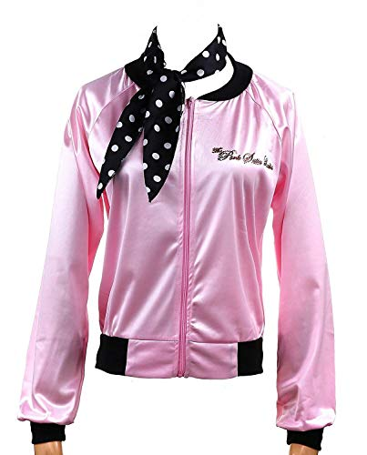 - 50's Party Costume Pink Satin Ladies Jacket Adult Standard Plus Scarf (XXL, CA Style)