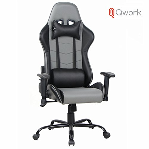 41Vbk93ZANL - Qwork-Gaming-Chair-High-Back-Computer-Chair-With-Headrest-and-Lumbar-Support-Ergonomic-designs-Extremely-Durable-PU-Leather-Steel-Frame-Racing-Chair