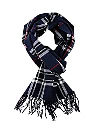 SethRoberts-Classic Cashmere Feel Men's Winter Scarf in Rich Plaids (NAVY)