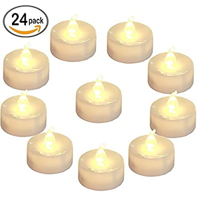 Homemory Battery LED Tea Lights, Pack of 24, Flameless Tealight Candle with Warm White Flickering Light, Dia 1.4'' Electric Fake Candle for Votive, Wedding, Party, Table, Diningroom, Gift