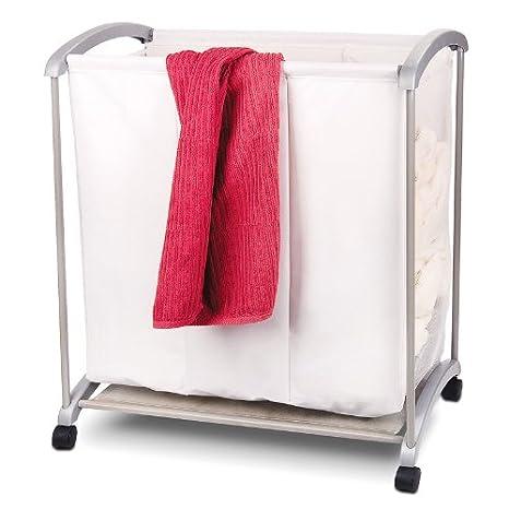 Compra Cesto para la colada Carrito para la colada Ropa sucia Cesto con 3 compartimentos y ruedas 70 x 40 x 75 cm en Amazon.es
