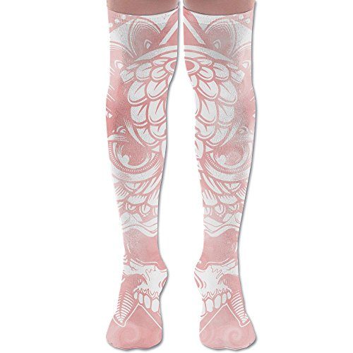 Skull Owl Decor Damask Clipart Cool Adult Knee High Socks