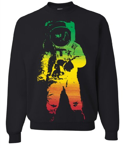 Space Astronaut Man on The Moon Rasta Crewneck Sweatshirt - Black XX-Large