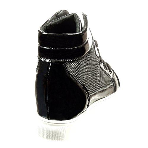 Angkorly Zapatillas Moda Deportivos Plataforma Mujer Strass Patentes Brillantes Talón Plataforma 6.5 cm Negro