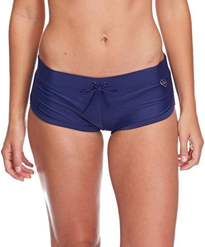 (Body Glove Women's Smoothies Sidekick Solid Sporty Bikini Bottom Swimsuit Short, Midnight, X-Small)