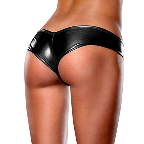 Big Promotion! Women Intimates WEUIE Womens Sexy Bare Imitation Leather Underpants Lingerie Lady Bikini Thongs (Free Size, Black) (Lingerie Latex)