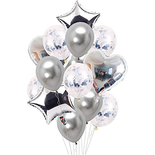 Noon-Sunshine decorative-plaques 14PCS Mixed Pink Birthday Balloon Blueations,14pcs Silver Set -