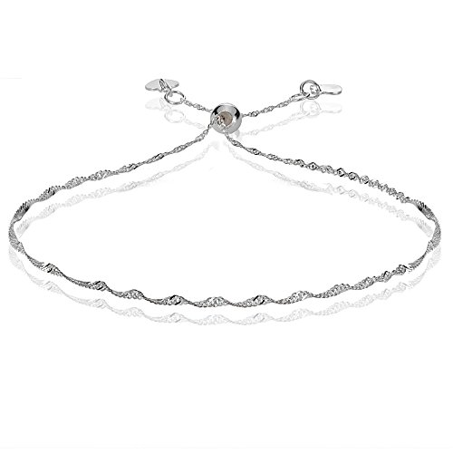 Bria Lou 14k White Gold 1.4mm Italian Singapore Adjustable Chain Bracelet, 7-9 Inches by Bria Lou