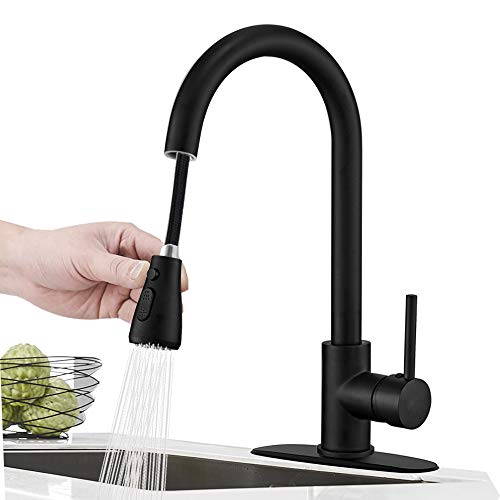 - Hoimpro Commercial High-Arc Single Handle Kitchen Sink Faucet With Pull Out Sprayer,Rv kitchen Faucet With Pull Down Sprayer,3 Function Touch on Laundry Water Faucet, Brass/Matte Black(1 or 3 Hole)