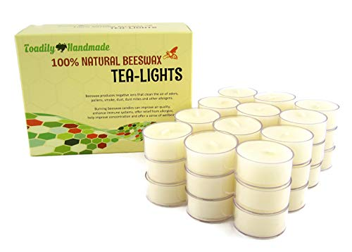 - Toadily Handmade Beeswax Candles 36 Hand Poured Beeswax Tea-Light Candles in Ivory - Plastic Cups & Chemical Free Cotton Wicks - 100% Beeswax Candles Made in The USA