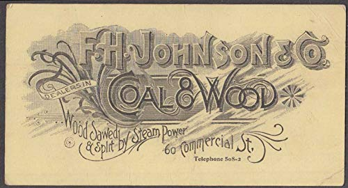 F H Johnson & Company Coal & Wood business card Portland ME ca 1900