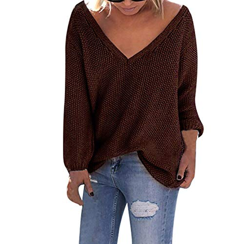 ANJUNIE Women Deep V-Neck Sweater Solid Long Sleeve Loose T-Shirt Tops Casual Knitting Blouse(Coffee,XL)