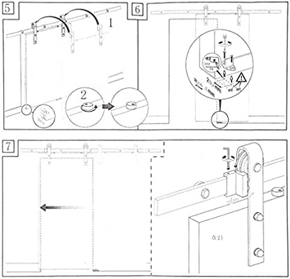 homgrace Kit de puerta corrediza Polea de Rail suspendida sistema ...