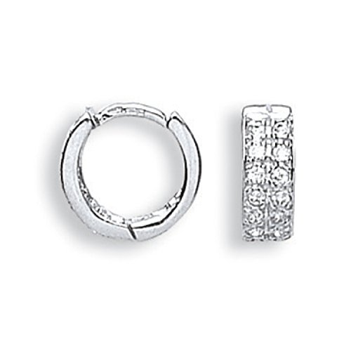 Or blanc 9 ct CZ Huggies Boucles d'oreilles 2,4 G