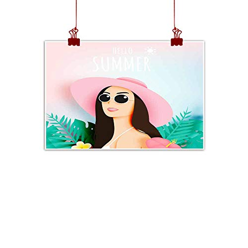 """Mannwarehouse Modern Frameless Painting Girl with Stunning Summer Nature Background in Paper Art Style and Pastel Color Scheme Bedroom Bedside Painting 32"""" Wx24 L"""