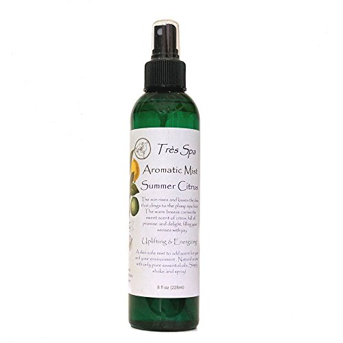 Aromatic Mist by Très Spa | 100% Natural Room Spray & Body Mist | Body to Bedding, Safe for Many Uses | Vegan, Eco-Friendly, & Alcohol Free | Summer Citrus-Uplifting & Purifying (8oz) - Body Deodorizer