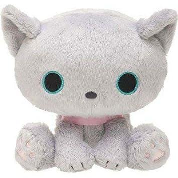 Muñeco peluche kawaii gris gato Kutusita Nyanko con collar