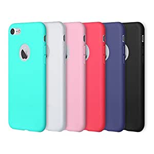 iPhone 7 Case, Pofesun 6 Pack Soft Flexible Silicone Gel Rubber Shockproof Case Cover for iPhone 7 (2016)/iPhone 8 (2017) 4.7 Inch(Black,White,Pink,Red,Green,Royal Blue)