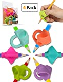 Pencil Grips, Firesara New Original Breakthrough Assorted Writing Aid Grip Trainer Posture Correction Finger Grip for Kids Preschoolers Children Adults Special Needs for Lefties or Righties(4PCS)