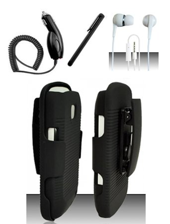 4 Items Combo For Samsung Illusion / Galaxy Proclaim i110 (Verizon/Straight Talk) Black Heavy Duty Ripple Protective Case Cover with Built in Kickstand and Belt Clip Holster + Car Charger + Free Stylus Pen + Free 3.5mm Stereo Earphone Headsets (Samsung Proclaim Car Charger)