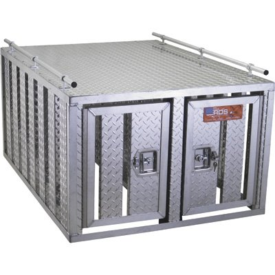 Southern-Style 2-Door Diamond Plate Dog Box without Floor Style Dog Box