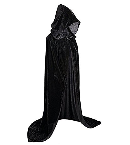 Plus Size Womens Vampire Costumes (JoinPro Unisex Halloween Hooded Cape Vampire Demon Devil Pirate Cosplay Costume Dress Velvet Cloak for Adults and Kids (XL/67