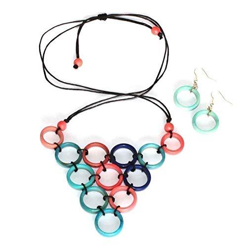 Pink and Blue Triangle Necklace and Earring Set of Tagua, Hand Knotted Bib, Fair Trade Eco Jewelry