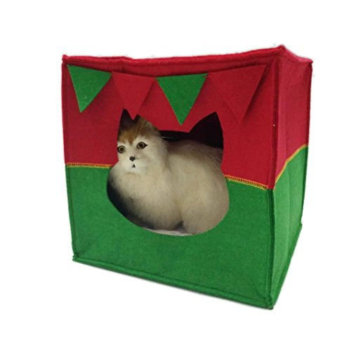 Mainstreet Christmas Cat Bed Cave Premium Felt Indoor Cat Kitten House with Cushion (Style 3)