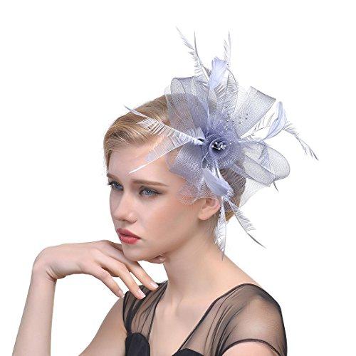 Dannifore Women's Handmade Grey Mesh Feather Cocktail Hats Headpiece Headwear Derby Fascinator,ACC10 by Dannifore