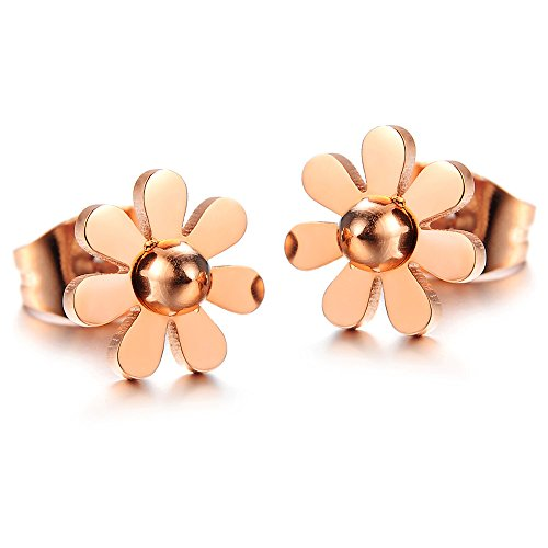 Womens Girls Fashion Stainless Steel Vintage Daisy Flower Pendant Necklace (Rose Gold Color Earrings)