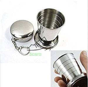 Stainless Steel Portable Outdoor Travel Camping Folding Collapsible Cup Metal Telescopic Keychain 75ml