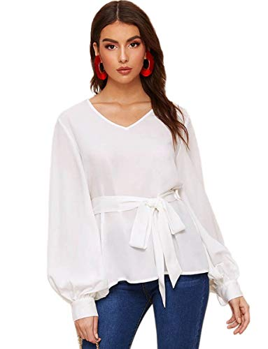 Romwe Women's Elegant Belted Long Sleeve Casual Office Work Blouse Shirts Tops White L