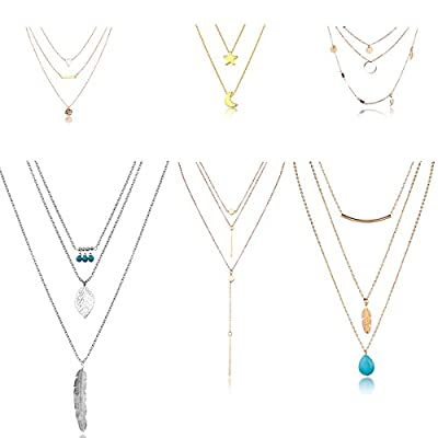 HYZ Pack of 6 Boho Layered Necklace Pendant Moon Star Turquoise Feather Coin Chain Girls Women Jewelry Set